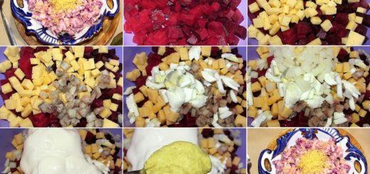 biešu salāti ar siļķi un sieru